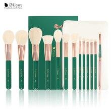 DUcare Green 13pcs Makeup Brushes Set Eye Shadow Foundation Powder Eyeliner Eyelash Lip Make Up Brush Cosmetic Beauty Tool Kit