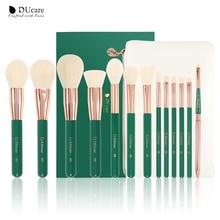 Ducareグリーン13個化粧ブラシセットアイシャドー財団パウダーアイまつげリップメイクアップブラシ化粧品美容ツールキット