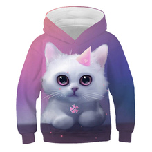 3D Super Cute Cat Hoodies Kids Clothes Autumn Winter Long Sleeve Sweatshirt Pullover Tops Fashion Animal Costume Plus velvet Top