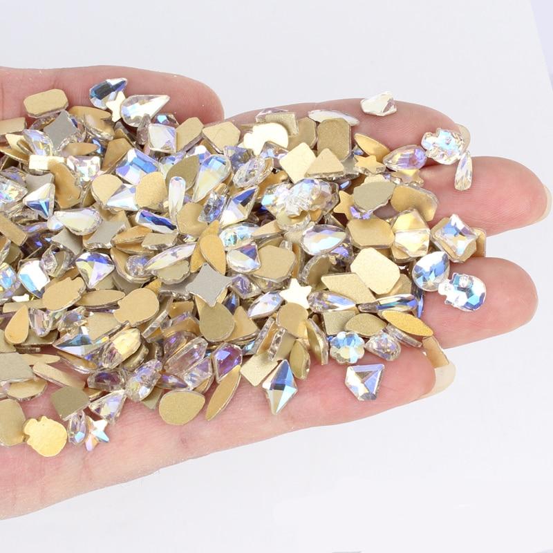 100 шт. случайный ногтей Стразы не стесняйтесь в комплекте; Обувь на плоской подошве с украшением в виде кристаллов нерегулярные бриллиантам...