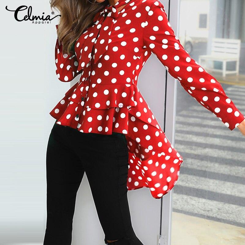 ><font><b>Polka</b></font> <font><b>Dot</b></font> Bow Tie Long Sleeve <font><b>Top</b></font> Celmia Fashion Women's Blouses Asymmetrical Tunic Long Shirt Casual Button Work Blusas Muje 7