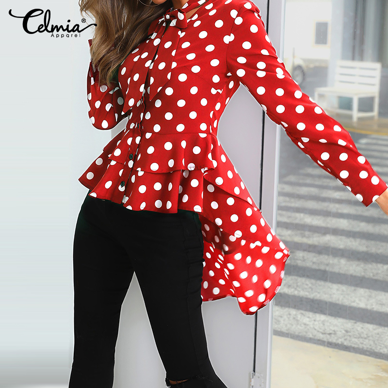 Polka Dot Bow Tie Long Sleeve Top Celmia Fashion Women's Blouses Asymmetrical Tunic Long Shirt Casual Button Work Blusas Muje 7
