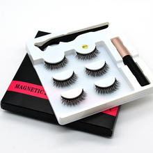 3D False Magnetic Eyelashes Natural Short Faux Mink Eye Lashes Eyelash Magnet Strips Magnetic Eyeliner And Eyelashes Make up Set