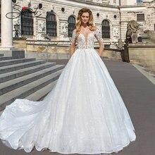 Роскошное Свадебное платье baziiingaaa с длинным рукавом и v