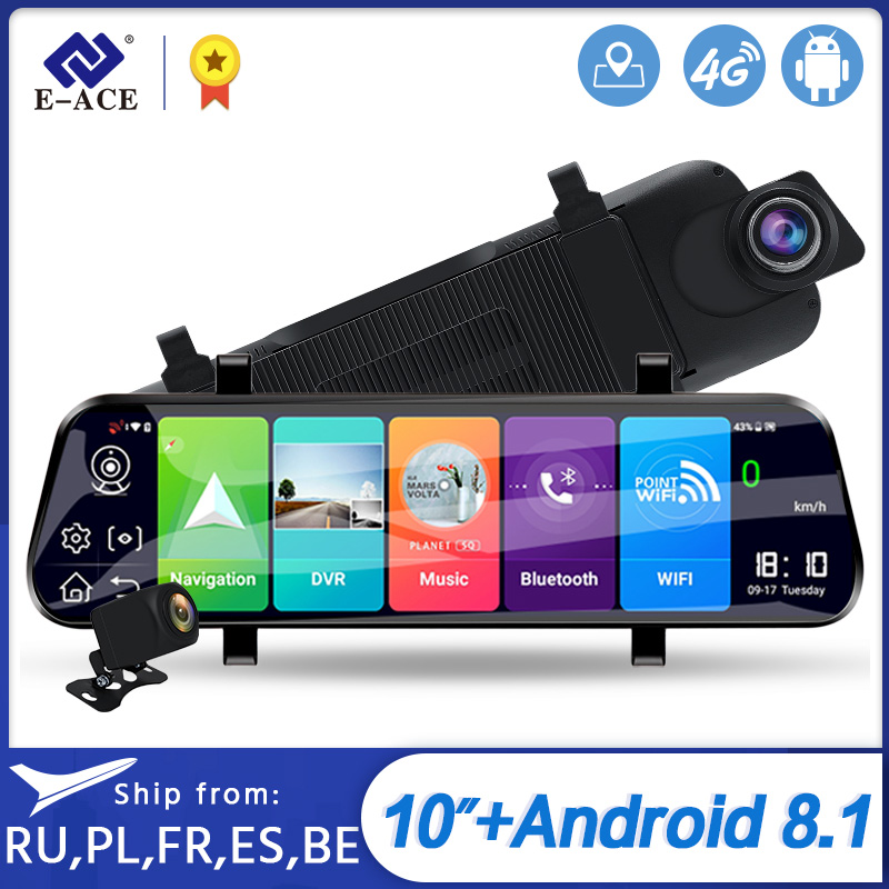 E-ACE D13 Car Dvr 10 IPS Touch Screen FHD 1080P Dash Cam for Android 8.1 4G&WIFI ADAS Car Camera Video Recorder GPS Navigation image