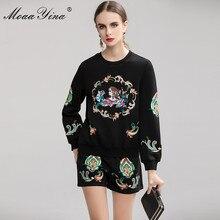 MoaaYina moda tasarımcısı takım elbise bahar sonbahar kadın nakış kazak örme üstleri + şort zarif iki parçalı set