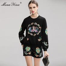 MoaaYina الأزياء مصمم دعوى الربيع الخريف المرأة التطريز السترة الحياكة قمم + السراويل أنيقة اثنين قطعة مجموعة
