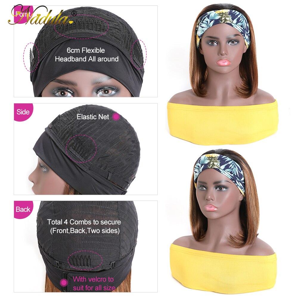 Nadula Straight Hair Headband Wig Honey Blonde Short BoB  Wigs Piano Color Highlight Wig  Headband Wig 5