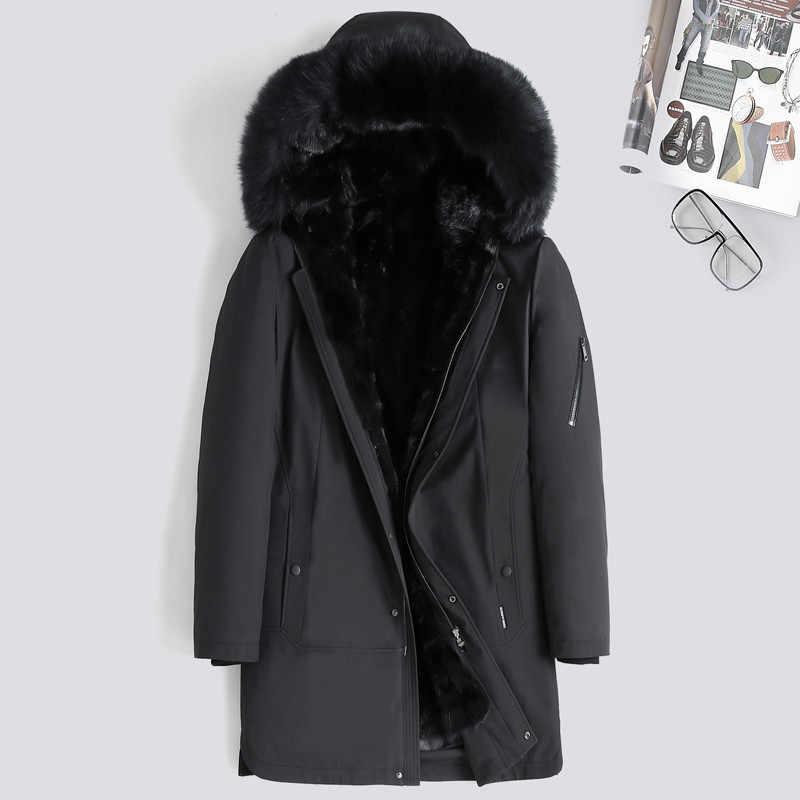 Echte Bontjas Mannen Nertsen Bont Liner Eendendons Winterjas Mannen Echt Bont Parka Voor Heren Kleding Plus Size casaco 8235 YY820