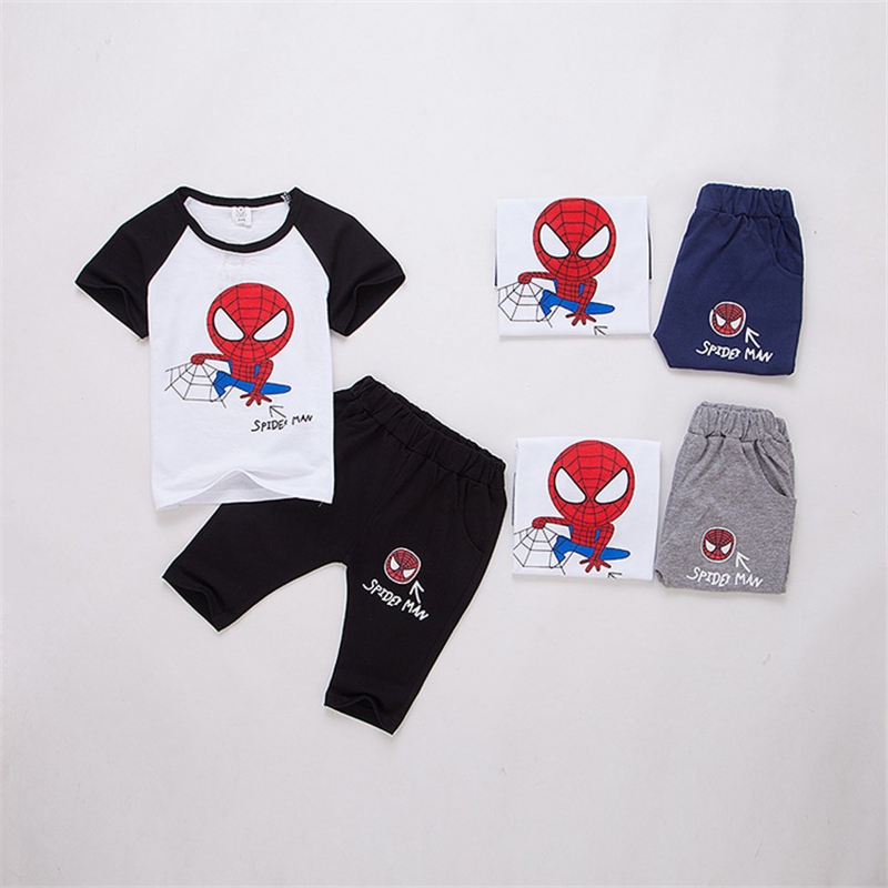 Baby Boys Girls T-Shirt+Short Pants Spiderman Sets For Kids Short Sleeve+Short Pants Children Leisure Sports Superhero Clothes