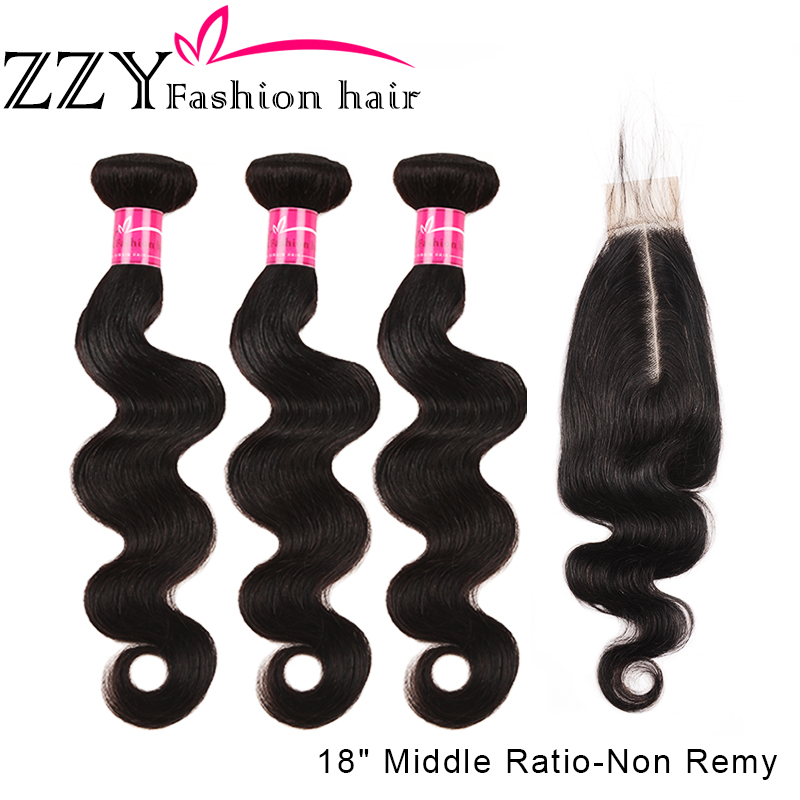 ZZY Brazilian Hair Weave Bundles With Closure 2*6 Non-remy Body Wave Human Hair 3 Bundles With Lace Closure Hair Extensions