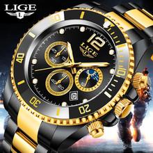 LIGE zegarki męskie Top marka ekskluzywny zegarek na co dzień ze stali nierdzewnej 24 godziny faza księżyca mężczyźni oglądać Sport wodoodporny kwarcowy z chronografem tanie tanio 22cm BIZNESOWY QUARTZ 3Bar Klamerka z zapięciem CN (pochodzenie) STAINLESS STEEL 13 5mm Hardlex Kwarcowe zegarki Papier