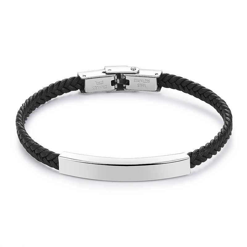 V.YA grawerowane bransoletki ze stali nierdzewnej własne logo nazwa skórzana bransoletka moda wysokiej jakości akcesoria biżuteria na prezent