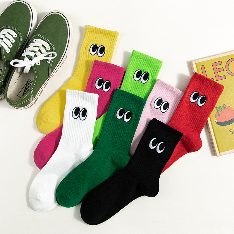Japanese Harajuku Style Embroidery Eyes Cute Socks Women For Autumn Winter Funny Socks Cotton White Black And Pink 091904
