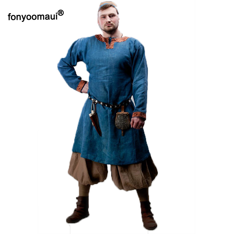 Medieval Men Shirts Viking Tops Long Sleeve Warrior Pirate Costume LARP SCA Reenactment Men Knight Tunic Cosplay Stage Costumes gown
