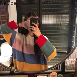 Neploe Korean O Neck Pullovers Color Striped Long Sleeve Knit Bottom Sweater Women Loose soft Long Sleeve Pull Femme hiver 46730