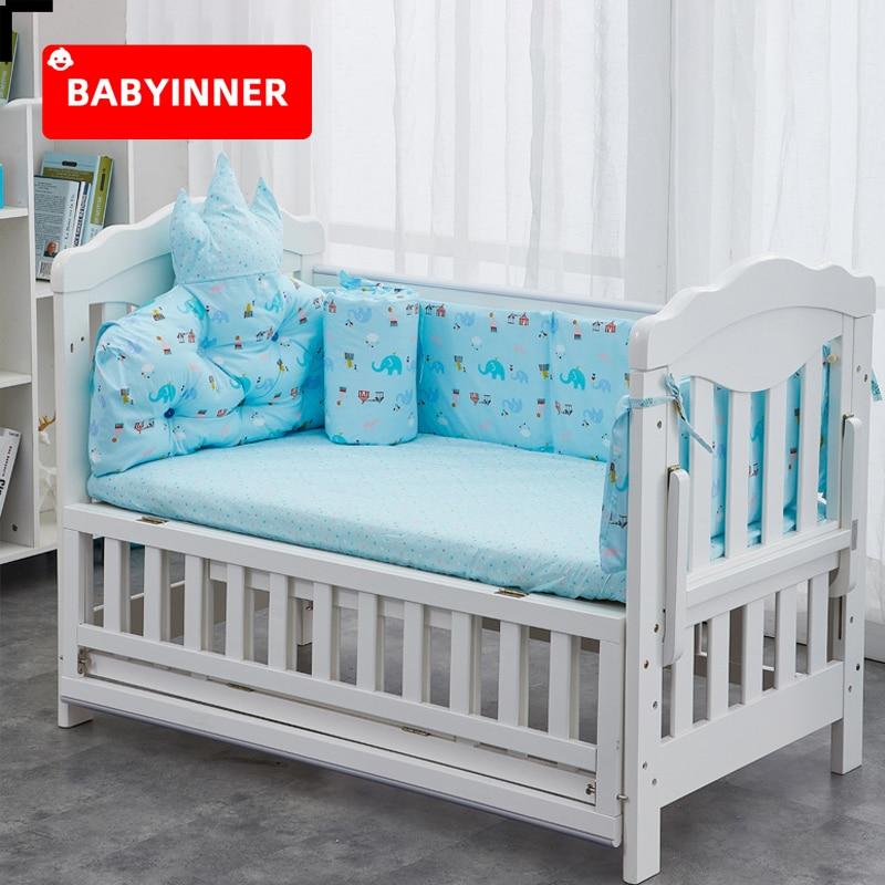 Babyinner 5Pcs/Set Baby Bed Bumper Cotton Crib Fence Cartoon Newborn Cot Protect Washable Anti-collision Bedding Room Decoration