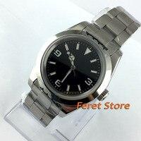 40mm bliger estéril mostrador preto luminosa caso sólido sapphire vidro automáticas mens watch b24