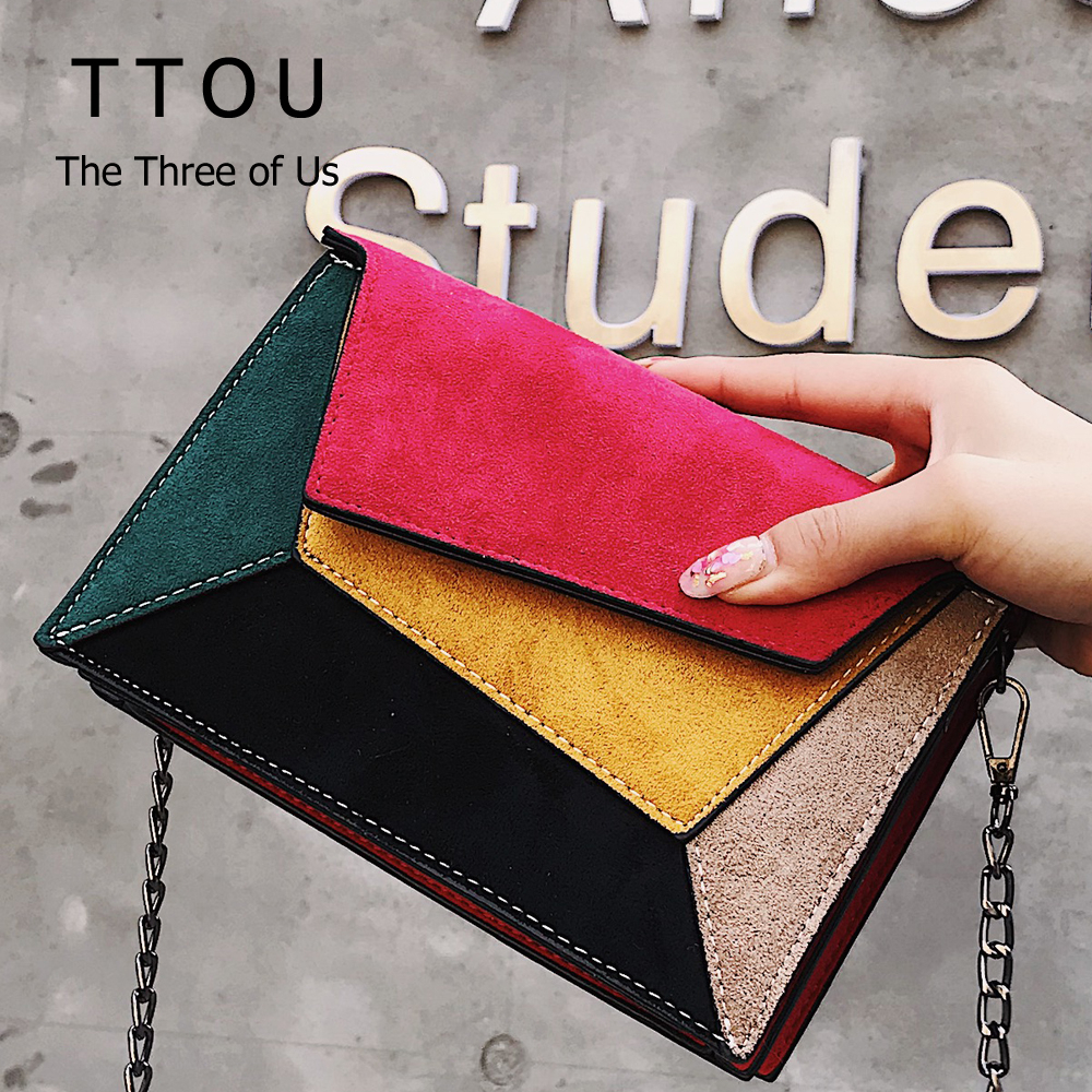 Suede Patchwork PU Leather Women Messenger Bag Ladies Flap Crossbody Chain Strap Shoulder Bag Small Ladies' Flap Bag Handbag