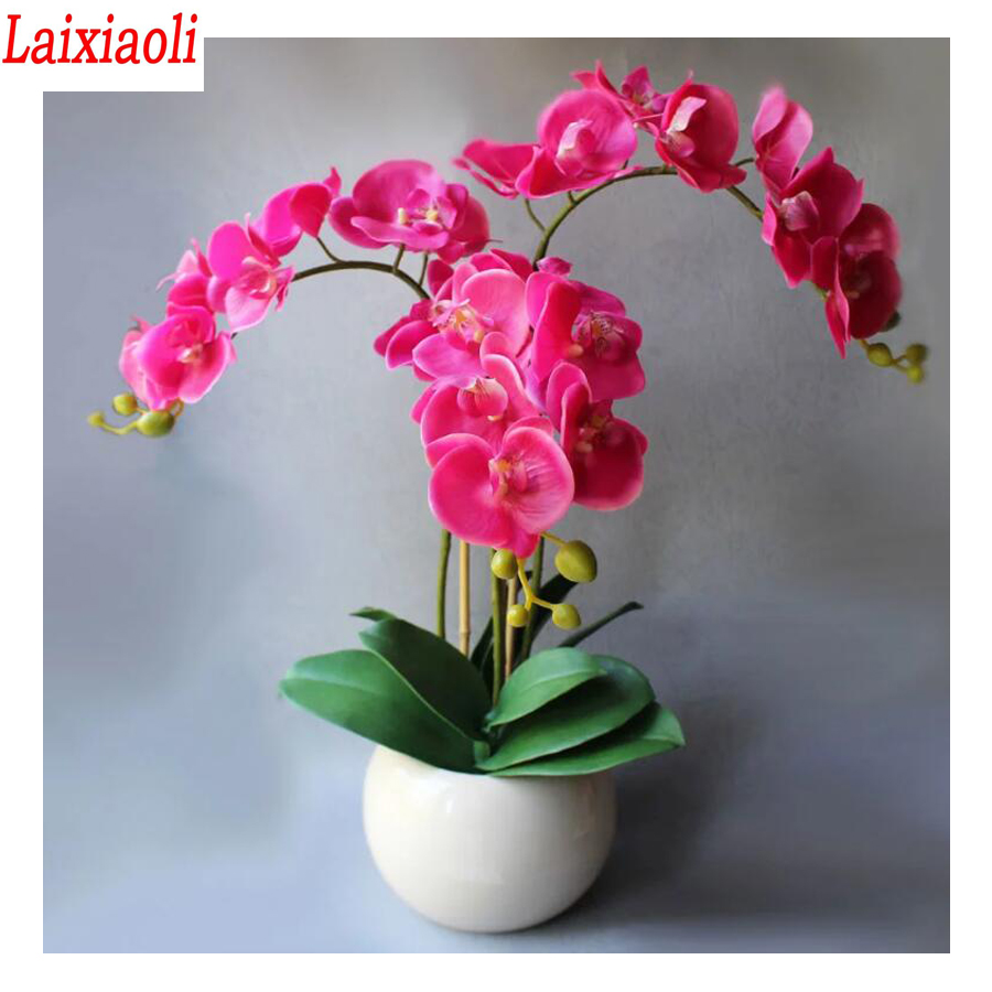 Full Rhinestone embroidery,pink orchid,sale diamond painting Cross Stitch plant flower diamond mosaic picture hobby home decora