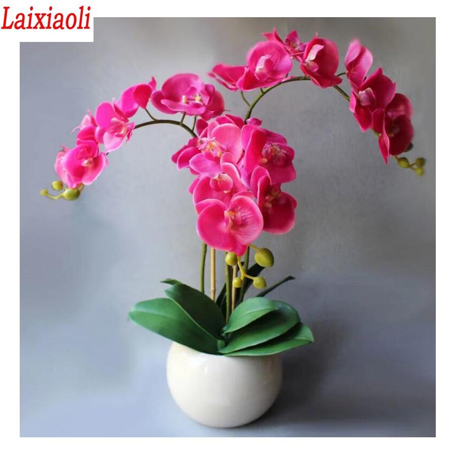 Стразы с вышивкой, Розовая орхидея, продажа, вышивка крестиком, растение, цветок, Алмазная мозаика, украшение для дома