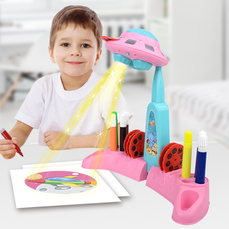 Zhorya Drawing Projector Toys For Children UFO Projection Painting Machine Plastic Kids Educational Toy Creative Game Boys Gift
