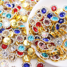 Claw Crafts Glass Stones Crystals Shiny Strass Round Gold 12mm Garment Sew On 100pcs