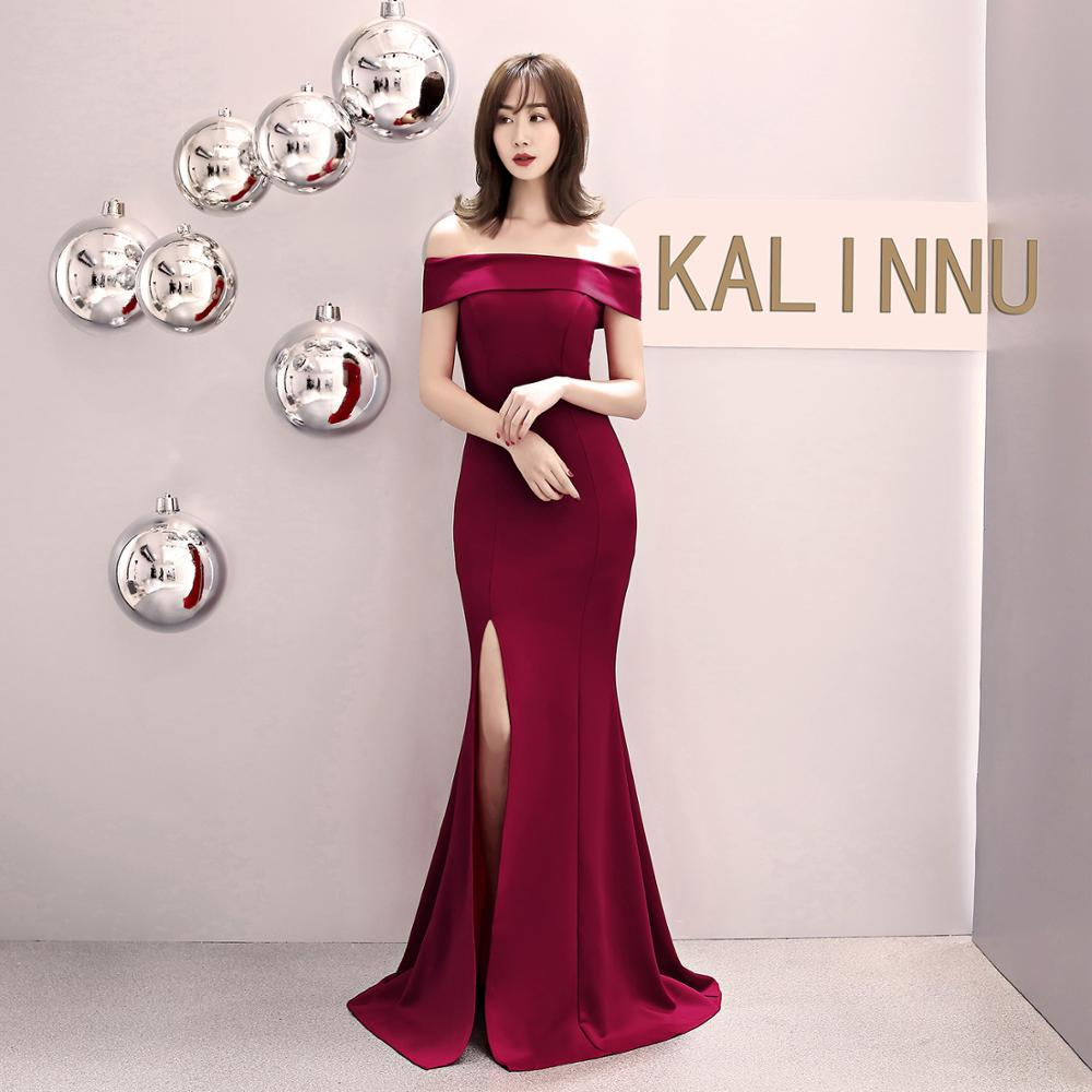 Beauty-Emily Off The Shoulder Satin Evening Dresses Long Mermaid Party Dress Formal Gowns Split Sexy For Wedding Robe De Soiree