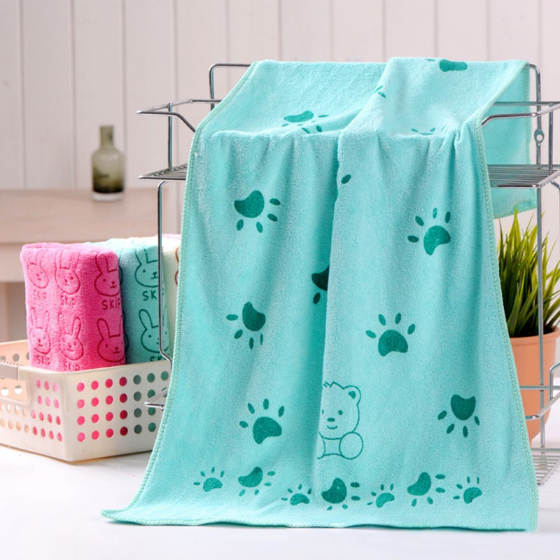 Multicolor Baby Kids Cotton Towels Baby Bath Towel Baby Cartoon Animal Heart Print Bath Towel Absorbent Drying Swimwear