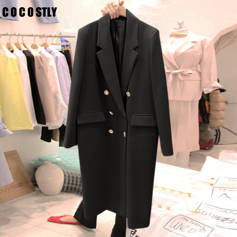 Autumn Winter Suit Blazer Women Casual Double Breasted Pocket Women Long Jackets Elegant Long Sleeve Blacket Blazer Outerwear