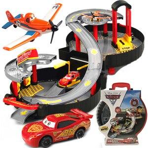 Pixar Cars 2 3 Portable Children Car Park Toy Lightning McQueen Model Alloy Rail Car Boy Assembled Eudcational Toy Birthday Gift
