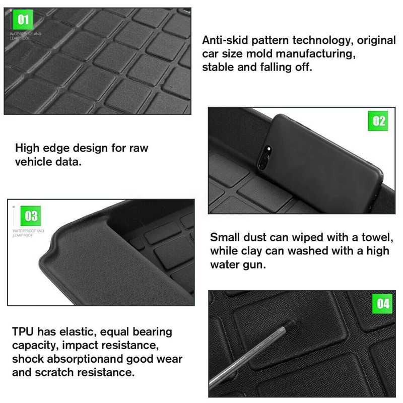 For Tesla Model 3 Trunk Floor Durable TPE Mat Cargo Liner Rear Cargo Tray