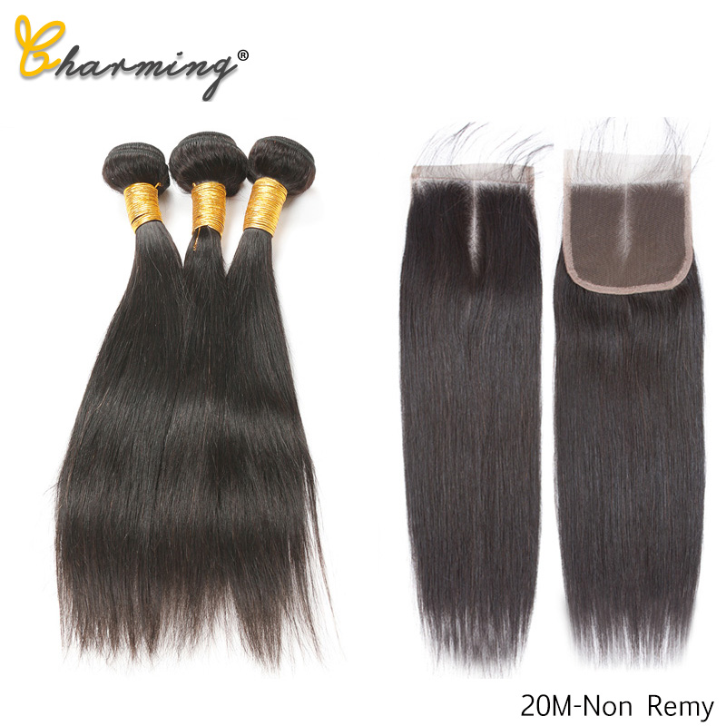 CHARMING Straight 8-26 Inch M Brazilian Non Remy Hair Nature Color 100% Human Hair Bundles With Closure