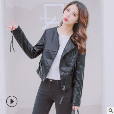 Black Faux Leather Jacket For Women Fashion Pu Leather Lady Coat Jackets With Zipper Outerwear Long Sleeve O Neck Female Tops