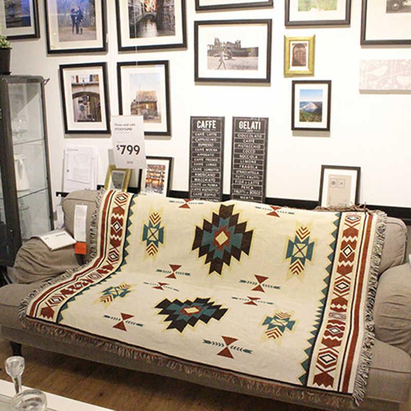 Boho Tribal Ethnic Geometric Aztec Navajo Blanket Throw Rugs Sofa Couch Cover