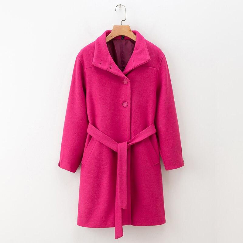 Женское шерстяное пальто, розовая верхняя одежда с длинным рукавом и поясом, осень 2019|Пальто| | АлиЭкспресс - Трендовые вещи из сериала «Эмили в Париже»