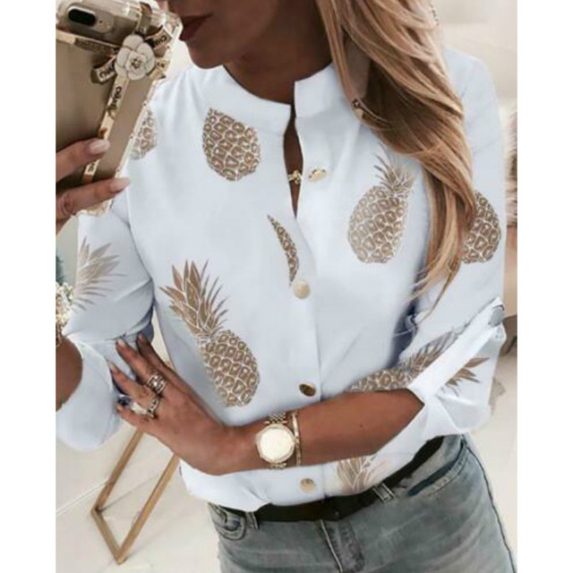 Women Crew Neck Long Sleeve Office Lady Summer Blouse Shirt Ladies Button Decro Blouse Shirt