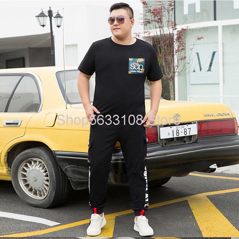 Suit Male 2020 Trend Fat Man Handsome Short Sleeve T Shirt Trousers Sportswear Plus Fat Plus
