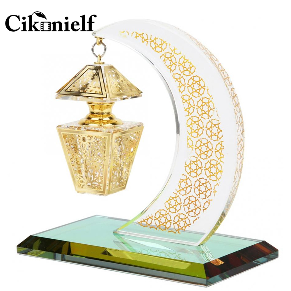 Trustful Cikonielf Muslim Crystal Ornament Church Crafts Model Islam Ornament Mini Clystal Moon Shaped Palace Lamp Model For Islamic Deco Available In Various Designs And Specifications For Your Selection