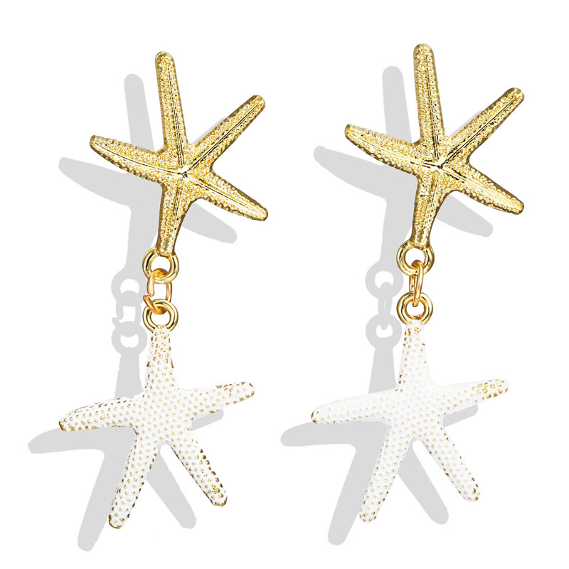 HOCOLE Sea Shell Drop Earrings For Women Imitation Pearl Starfish Charm Pendant Dangle Earring Statement Bohemian Jewelry Gifts in Drop Earrings from Jewelry Accessories