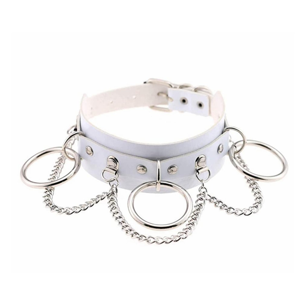 Punk7 Joker Adjustable Necklace Choker Multilayer Chain Pendant PU Leather Choker Girl Club Party Festival Jewelry