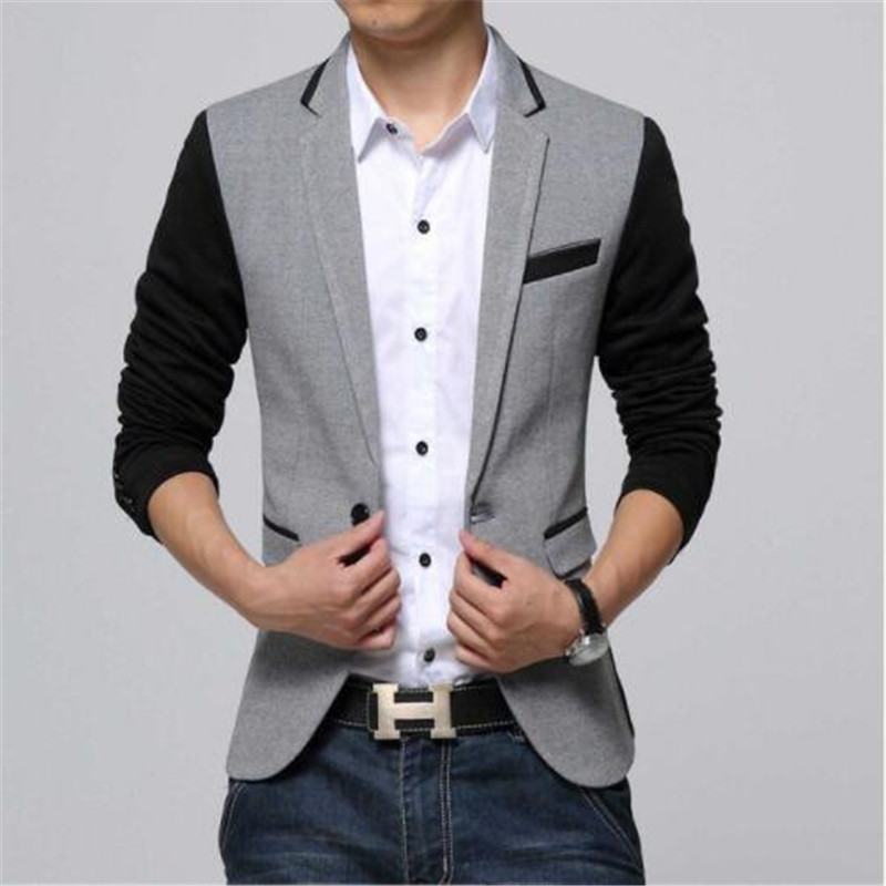 New Slim Fit Casual Jacket Cotton Men Blazer Jacket Single Button Gray Mens Suit Jacket 2018 Autumn Patchwork Coat Male Suite