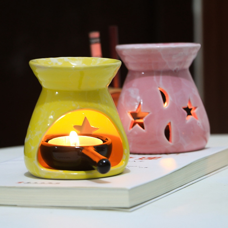 1Pcs Ceramic Essential Oil Lamps Hollow Stars Moon Pattern Simple Essential Oil Fragrance Tea Light Candle Holder image