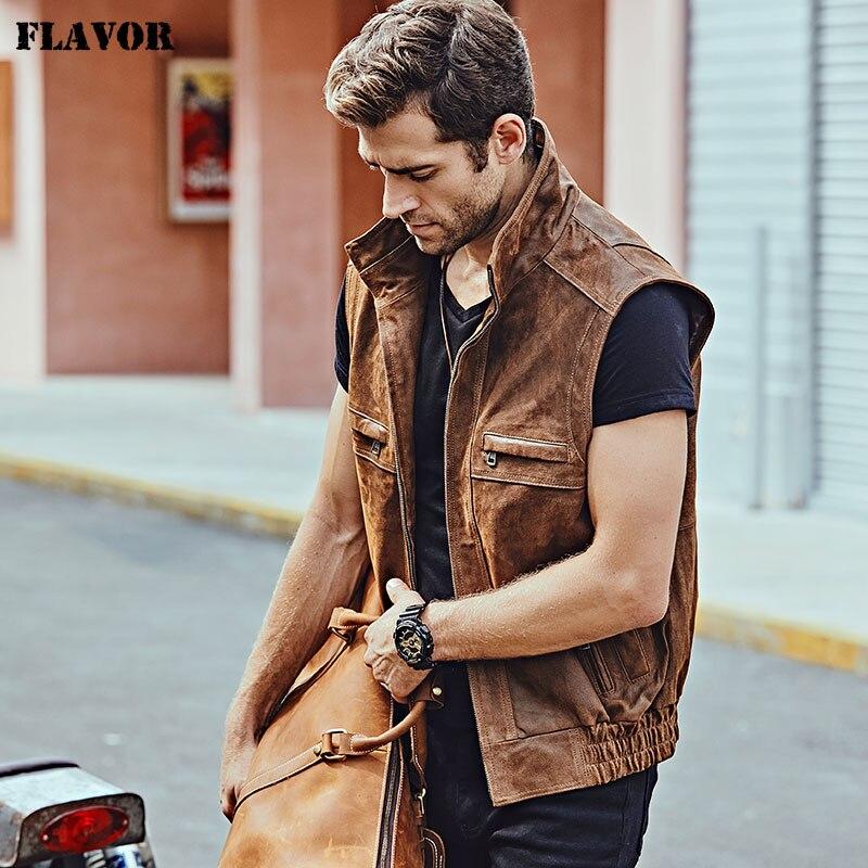 Mew Men s Leather Retro Vest Stand Collar Men s Motorcycle Casual Vest Mew Men's Leather Retro Vest Stand Collar Men's Motorcycle Casual Vest