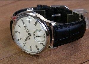 Image 2 - 44mm GEERVO wypukłe lustro biała tarcza azjatyckich 6497 17 klejnotów mechaniczna ręka wiatr ruch zegarek męski zegarki mechaniczne gr313 g8
