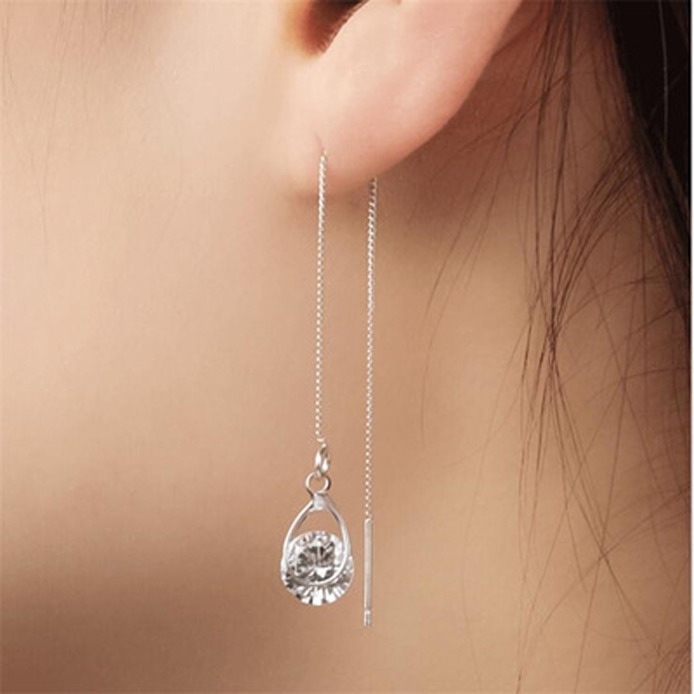 2019 Water Drop Earrings Women Jewelry Accessories Zircon Pendant Long Ear Line Stainless Steel Korean Tassel Section Earrings