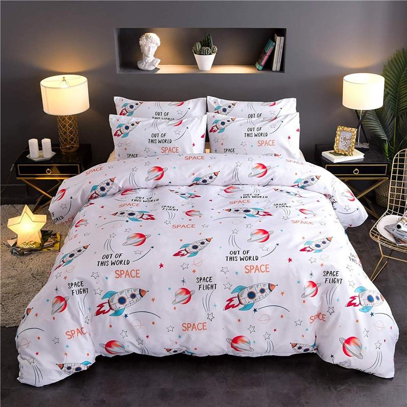 Space Rocket Planet Printing Bedding Set Quilt Cover Bedclothes Pillowcase Duvet Cover Set For Boys Girls Bedding Ropa De Cama