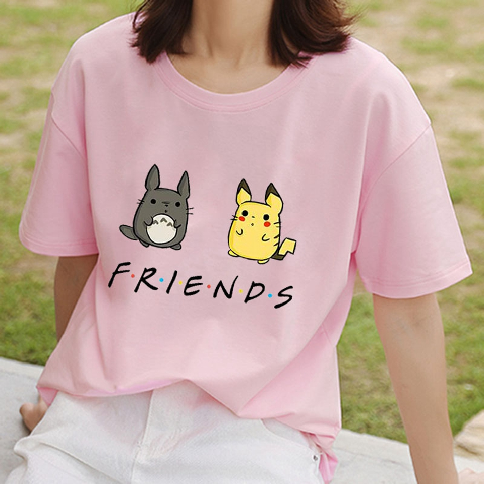 Camisetas Feminina 2020 Funny T-Shirt Pokemon Friends Lady Top Tees Summer Friends Letters Women Tshirt Vintage T Shirt Female image
