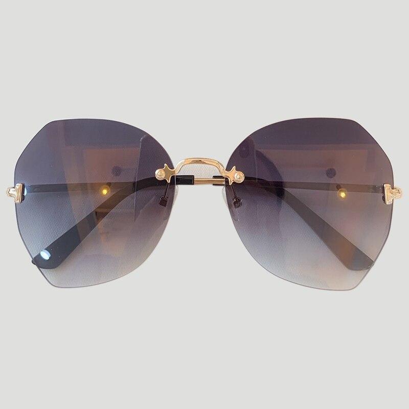 Nouveau grand cadre femmes lunettes de soleil haut tendance qualité dégradé femmes sans monture lunettes de soleil femme marque 2019 miroir UV400