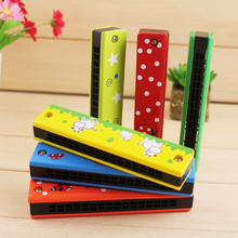 Double Row 16 Hole Children's Wooden Painted Harmonica Creative Instrument Enlightenment Toy Early Random Musical Education G5E0